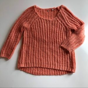 Anthropologie Knitted & Knotted coral sweater S